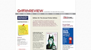 A screenshot from the Griffith Review website taken on 25 November 2011