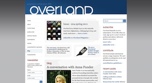 A screenshot from the Overland website taken on 25 November 2011