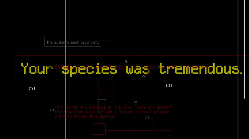 A screenshot from Jason Nelson's Depth: Text and Playthings