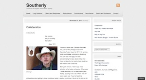 A screenshot from the Southerly website taken on 25 November 2011
